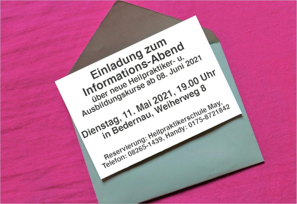 Einladung Infoabend am 11. Mai 2021 zu neuen Heilpraktiker- und Ausbildungskursen 2021