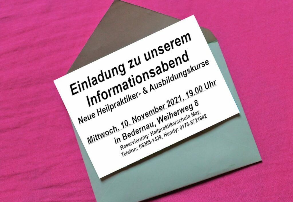 Einladung Infoabend am 10. November 2021 zu neuen Heilpraktiker- und Ausbildungskursen 2021